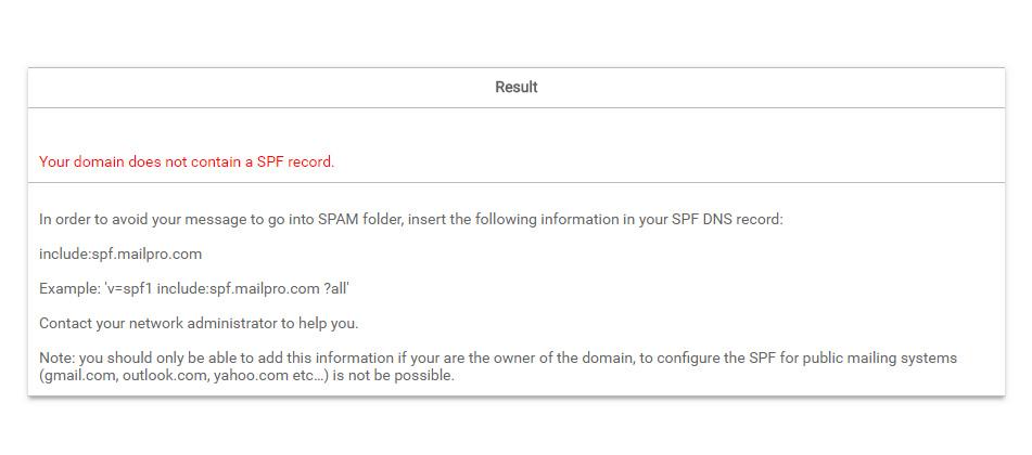 SPF (Sender Policy Framework) in Mailpro